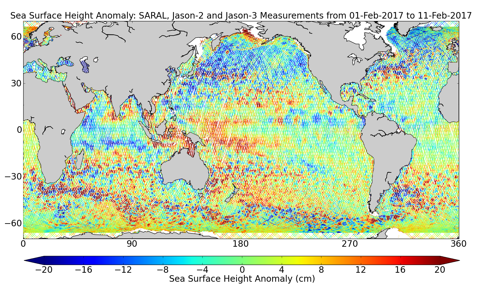 Sea Surface Height Anomaly: SARAL, Jason-2 and Jason-3 Measurements from 01-Feb-2017 to 11-Feb-2017
