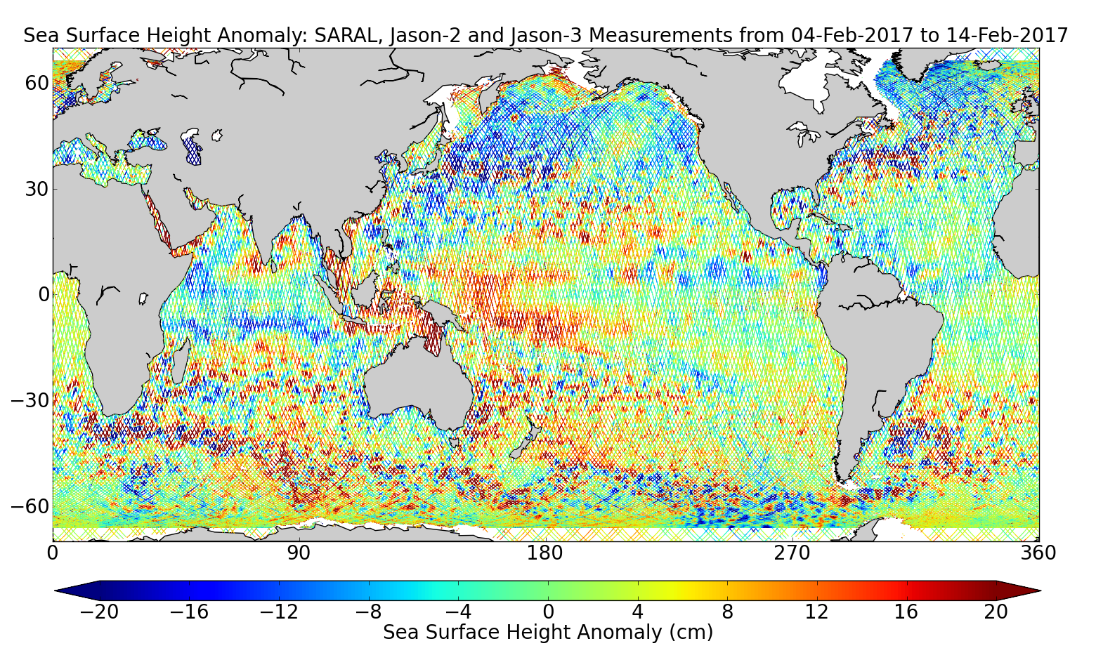 Sea Surface Height Anomaly: SARAL, Jason-2 and Jason-3 Measurements from 04-Feb-2017 to 14-Feb-2017
