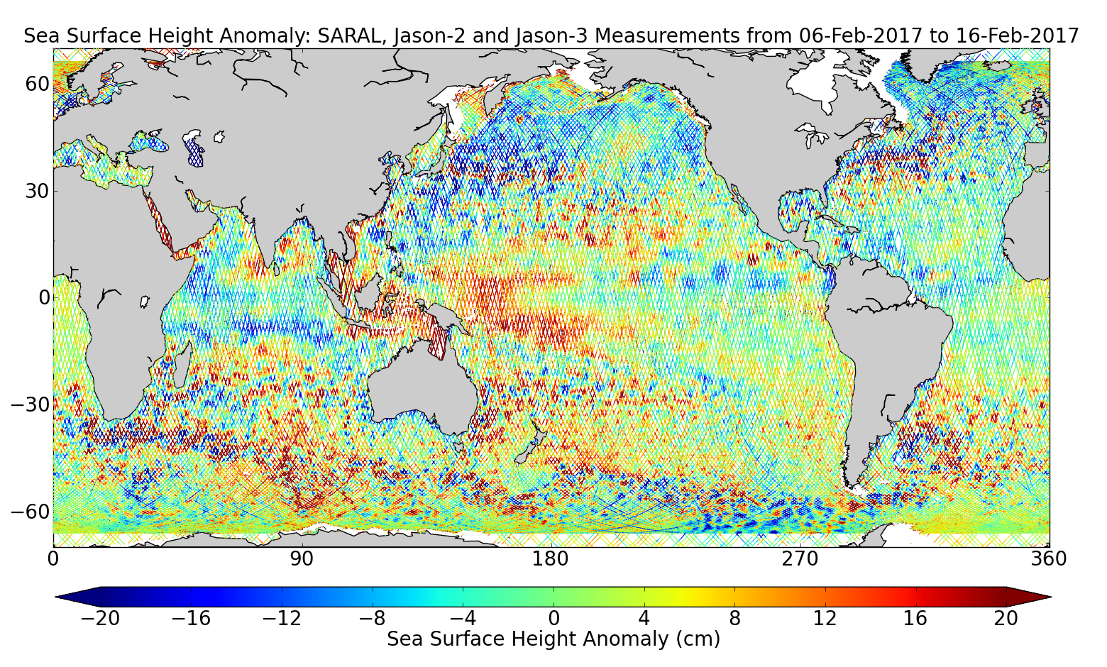 Sea Surface Height Anomaly: SARAL, Jason-2 and Jason-3 Measurements from 06-Feb-2017 to 16-Feb-2017