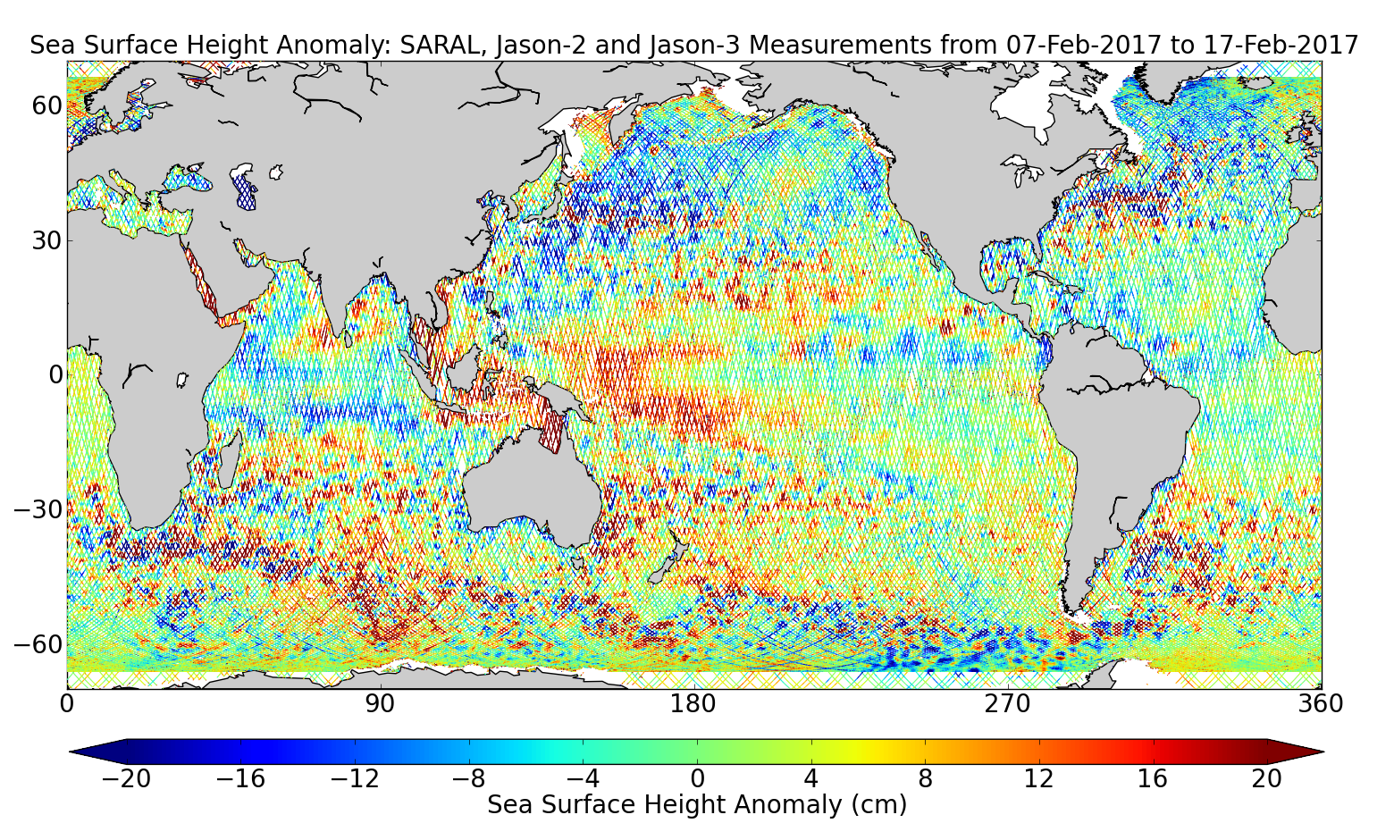 Sea Surface Height Anomaly: SARAL, Jason-2 and Jason-3 Measurements from 07-Feb-2017 to 17-Feb-2017