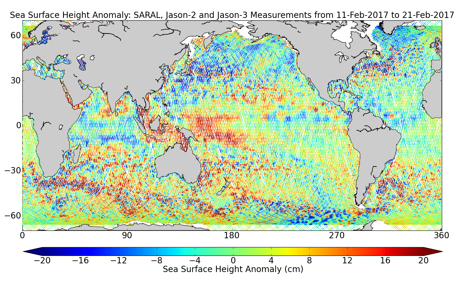 Sea Surface Height Anomaly: SARAL, Jason-2 and Jason-3 Measurements from 11-Feb-2017 to 21-Feb-2017