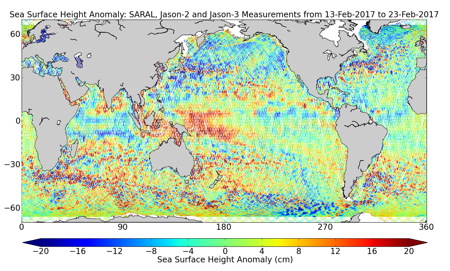 Sea Surface Height Anomaly: SARAL, Jason-2 and Jason-3 Measurements from 13-Feb-2017 to 23-Feb-2017