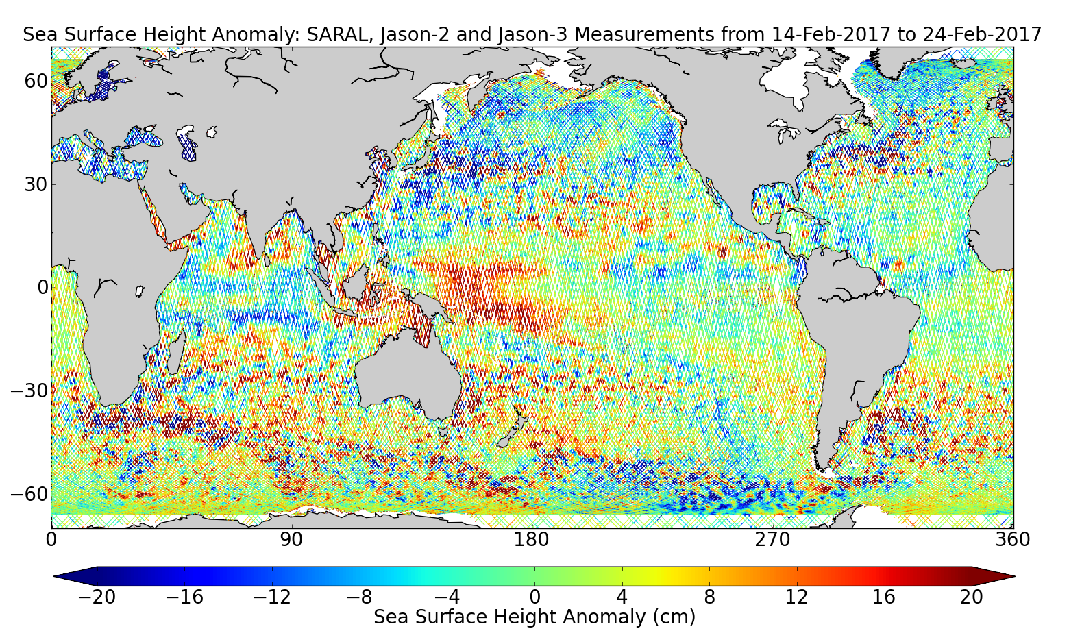 Sea Surface Height Anomaly: SARAL, Jason-2 and Jason-3 Measurements from 14-Feb-2017 to 24-Feb-2017