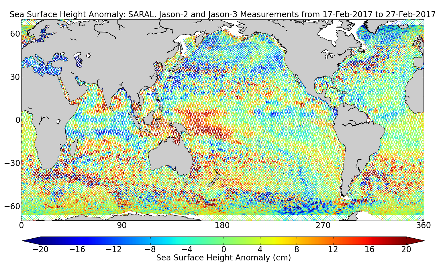 Sea Surface Height Anomaly: SARAL, Jason-2 and Jason-3 Measurements from 17-Feb-2017 to 27-Feb-2017