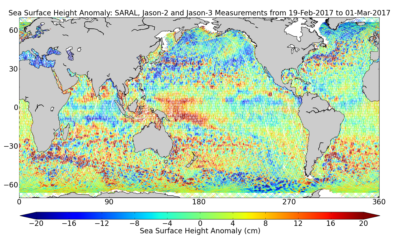 Sea Surface Height Anomaly: SARAL, Jason-2 and Jason-3 Measurements from 19-Feb-2017 to 01-Mar-2017