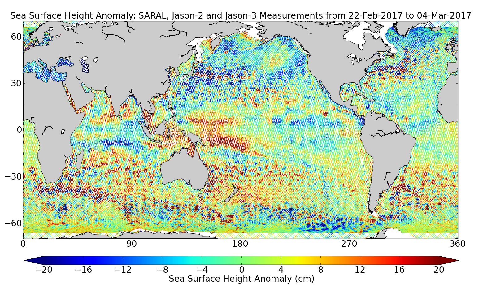 Sea Surface Height Anomaly: SARAL, Jason-2 and Jason-3 Measurements from 22-Feb-2017 to 04-Mar-2017