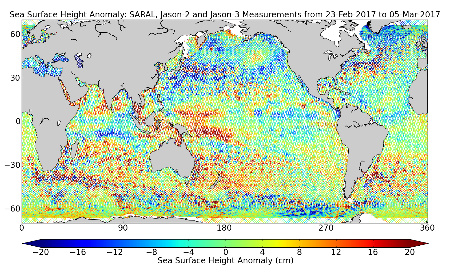 Sea Surface Height Anomaly: SARAL, Jason-2 and Jason-3 Measurements from 23-Feb-2017 to 05-Mar-2017