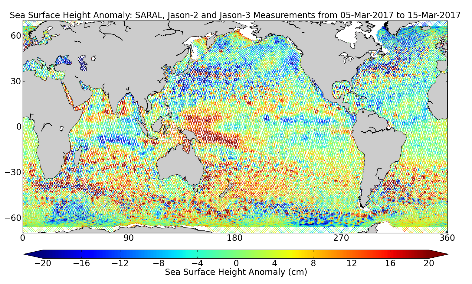 Sea Surface Height Anomaly: SARAL, Jason-2 and Jason-3 Measurements from 05-Mar-2017 to 15-Mar-2017