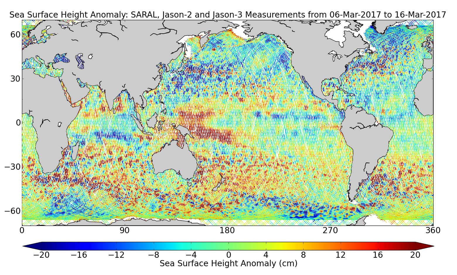Sea Surface Height Anomaly: SARAL, Jason-2 and Jason-3 Measurements from 06-Mar-2017 to 16-Mar-2017