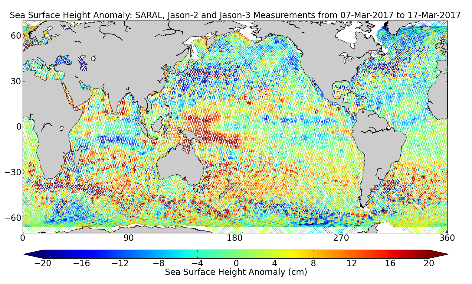 Sea Surface Height Anomaly: SARAL, Jason-2 and Jason-3 Measurements from 07-Mar-2017 to 17-Mar-2017