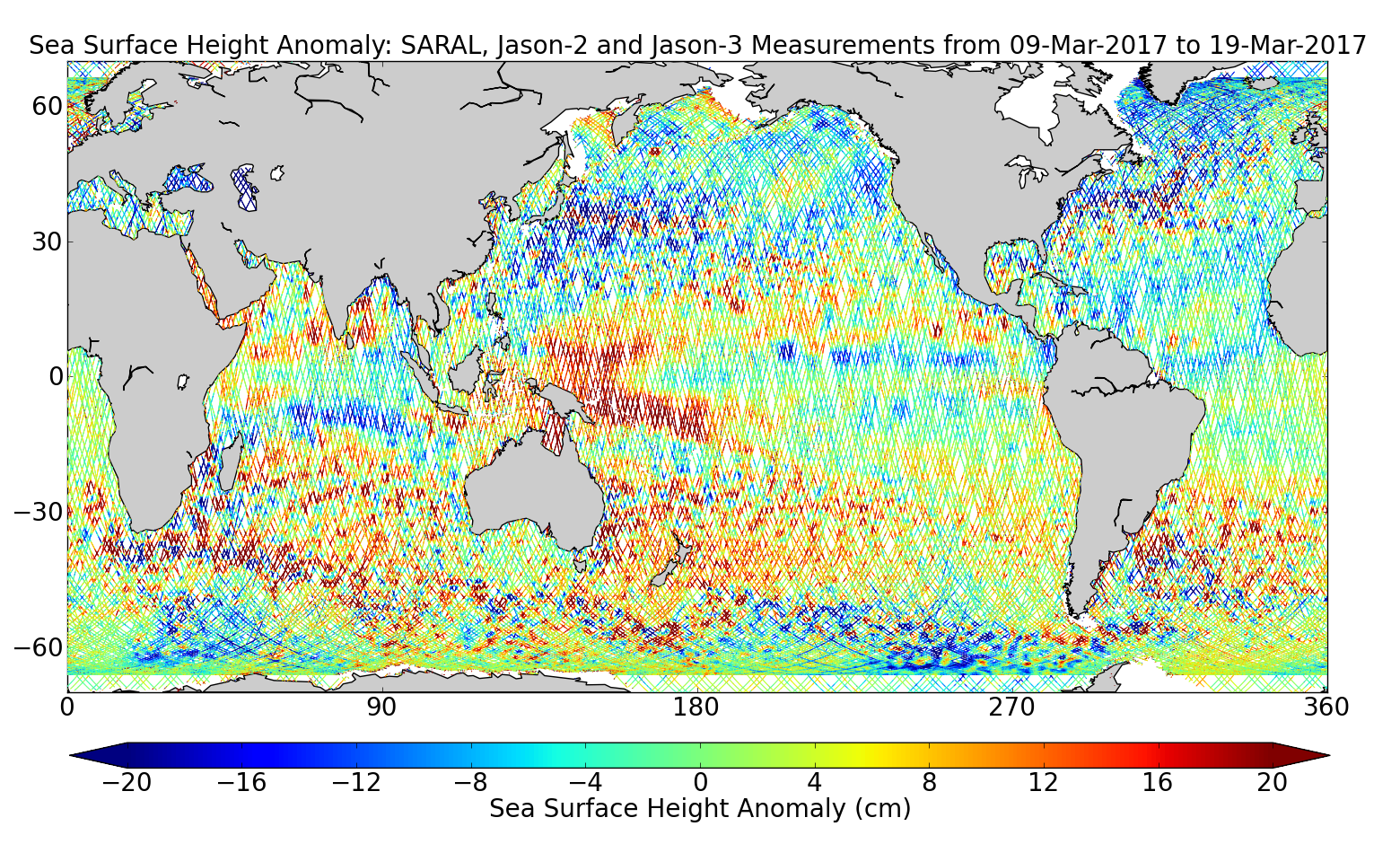 Sea Surface Height Anomaly: SARAL, Jason-2 and Jason-3 Measurements from 09-Mar-2017 to 19-Mar-2017