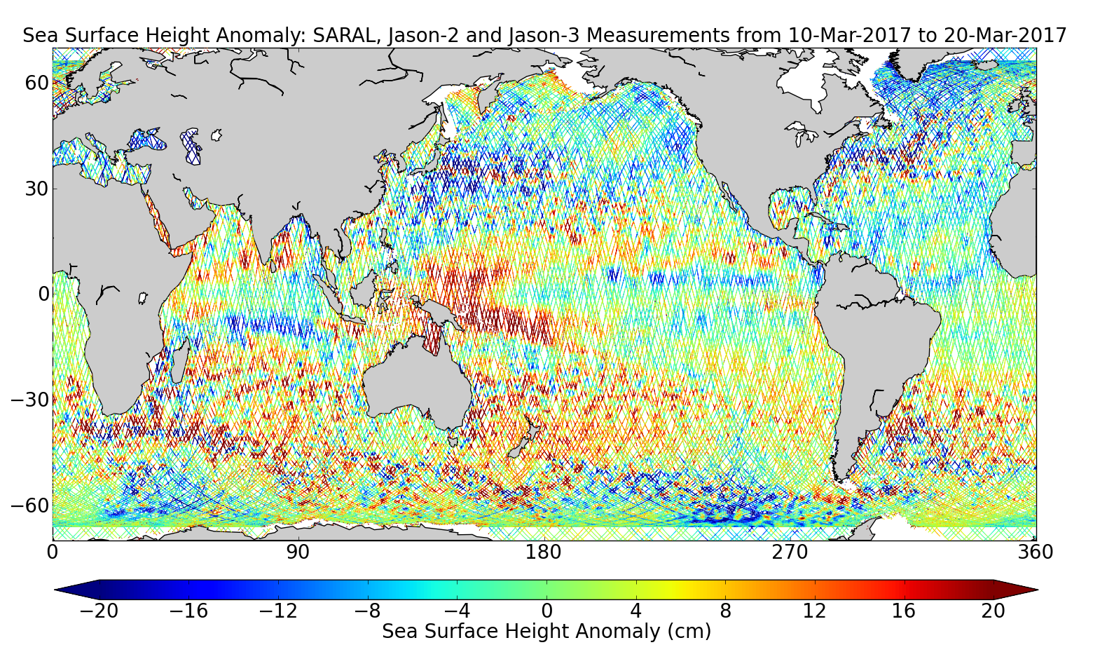 Sea Surface Height Anomaly: SARAL, Jason-2 and Jason-3 Measurements from 10-Mar-2017 to 20-Mar-2017