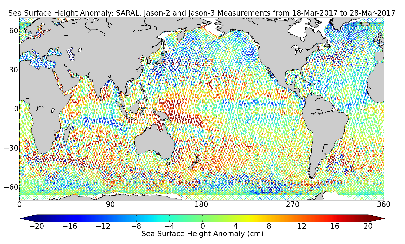 Sea Surface Height Anomaly: SARAL, Jason-2 and Jason-3 Measurements from 18-Mar-2017 to 28-Mar-2017