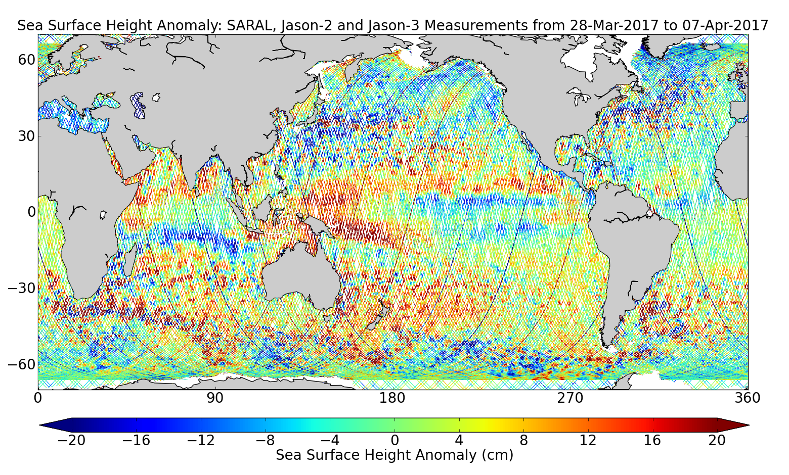 Sea Surface Height Anomaly: SARAL, Jason-2 and Jason-3 Measurements from 28-Mar-2017 to 07-Apr-2017