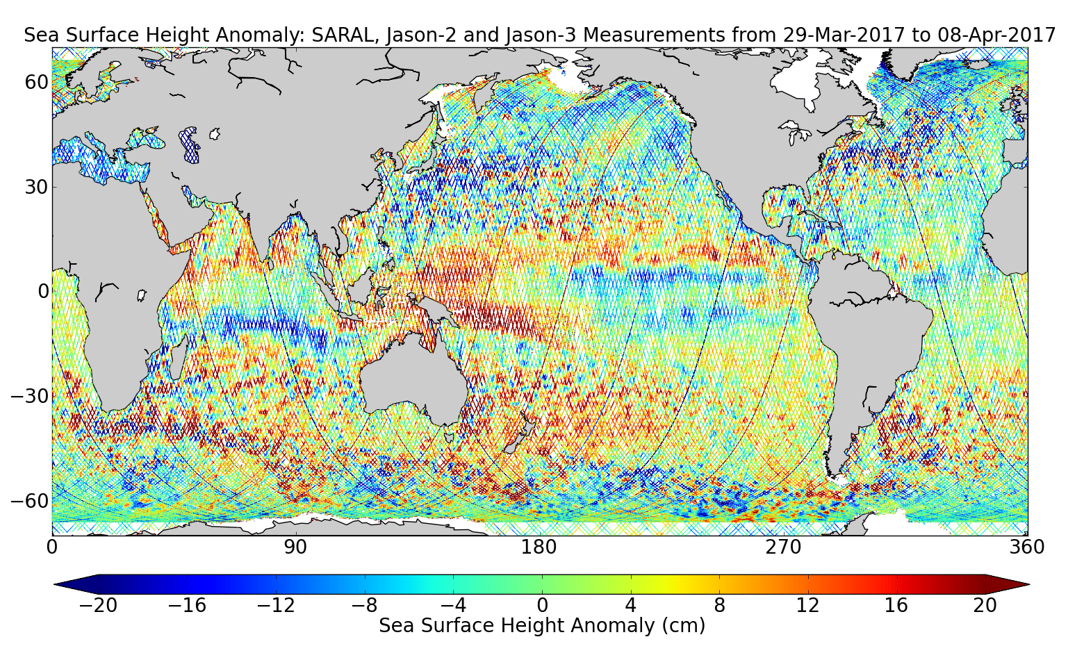 Sea Surface Height Anomaly: SARAL, Jason-2 and Jason-3 Measurements from 29-Mar-2017 to 08-Apr-2017