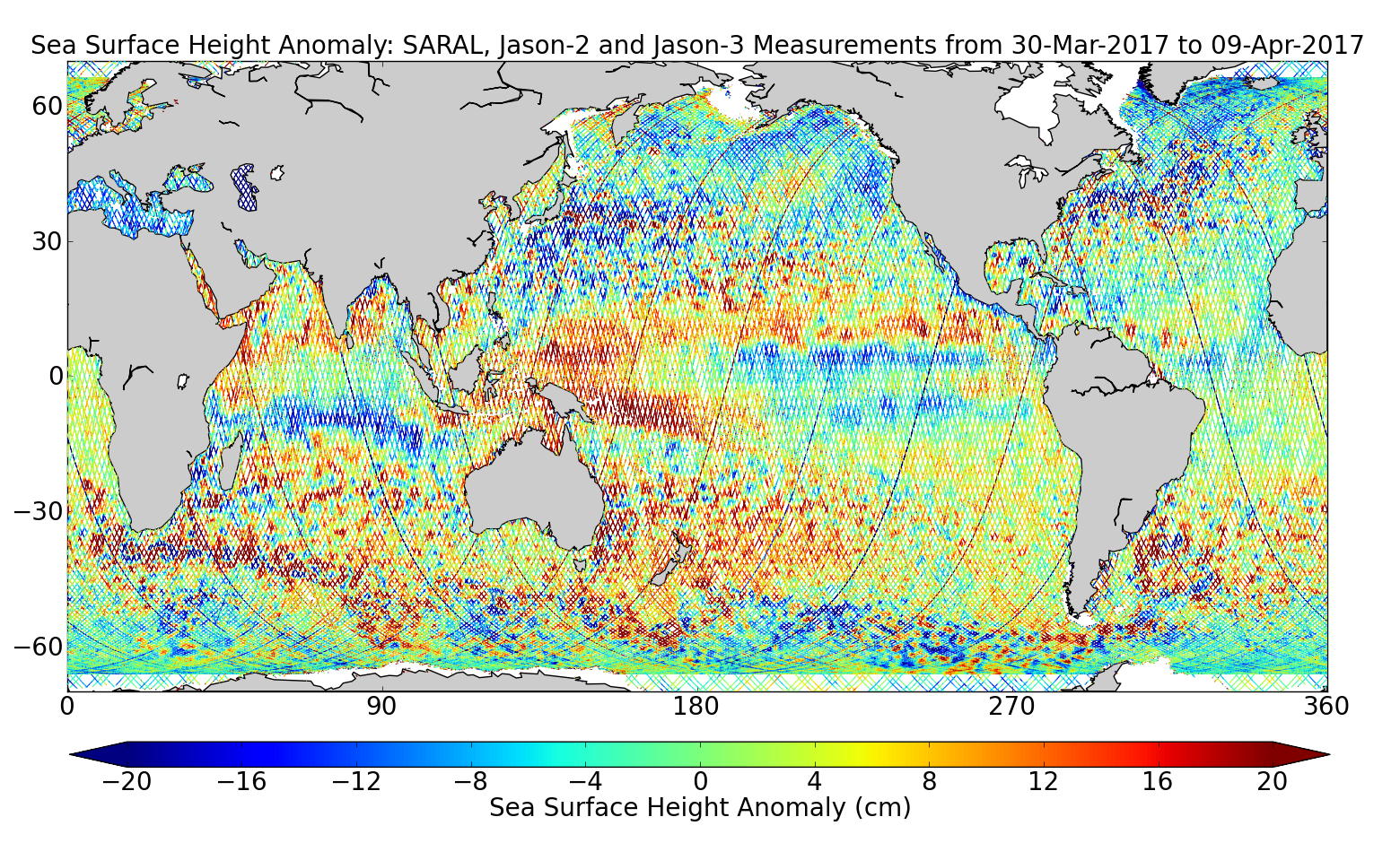 Sea Surface Height Anomaly: SARAL, Jason-2 and Jason-3 Measurements from 30-Mar-2017 to 09-Apr-2017