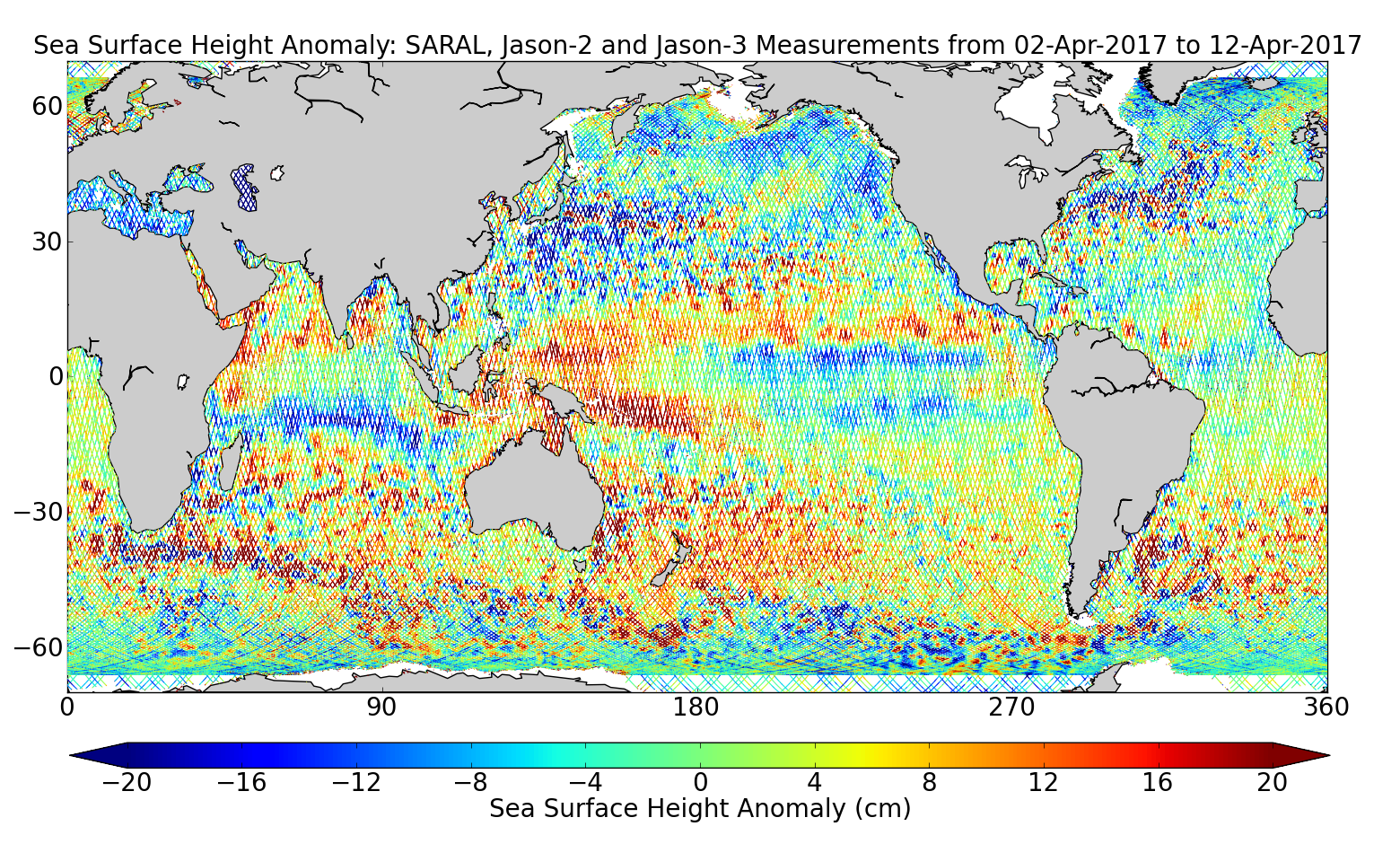 Sea Surface Height Anomaly: SARAL, Jason-2 and Jason-3 Measurements from 02-Apr-2017 to 12-Apr-2017
