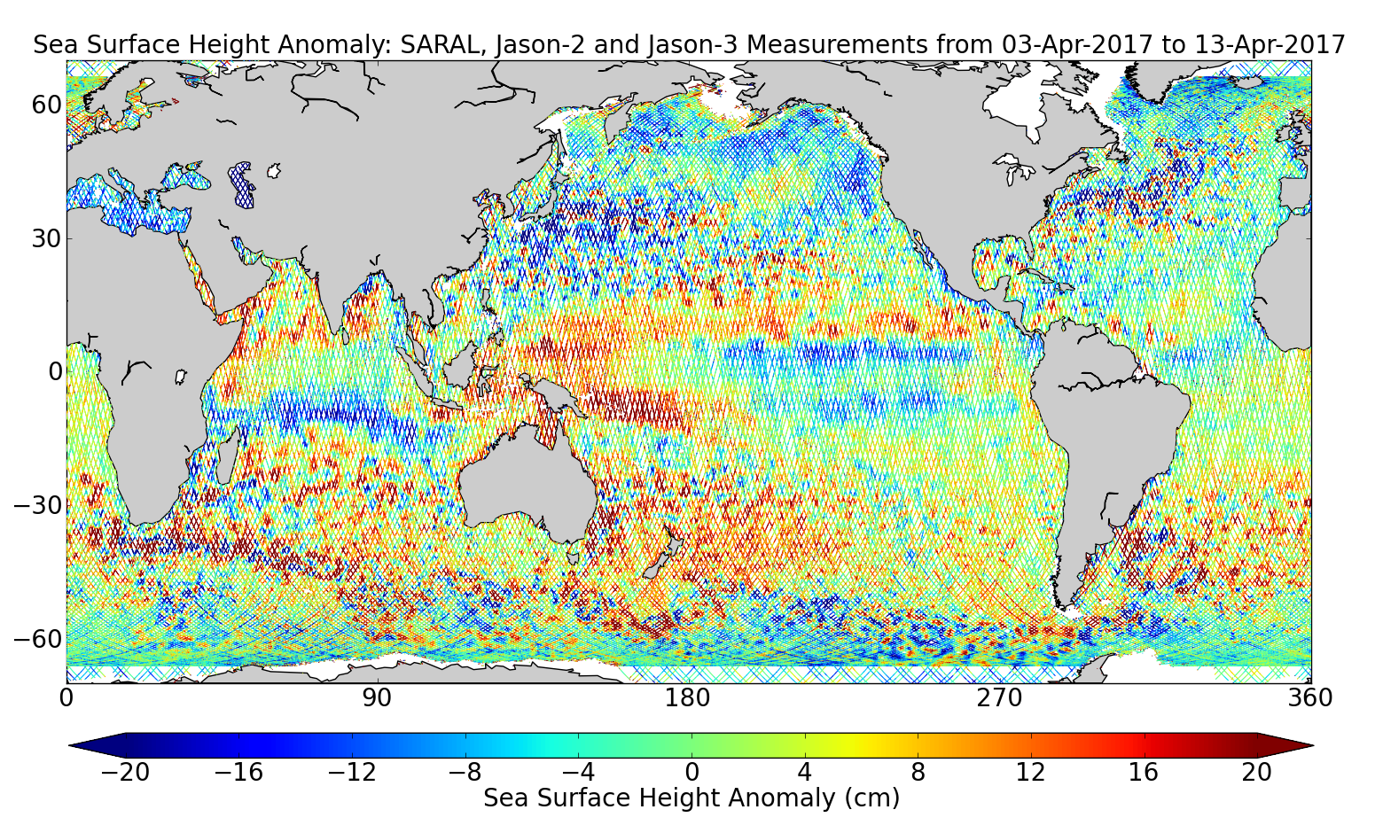 Sea Surface Height Anomaly: SARAL, Jason-2 and Jason-3 Measurements from 03-Apr-2017 to 13-Apr-2017