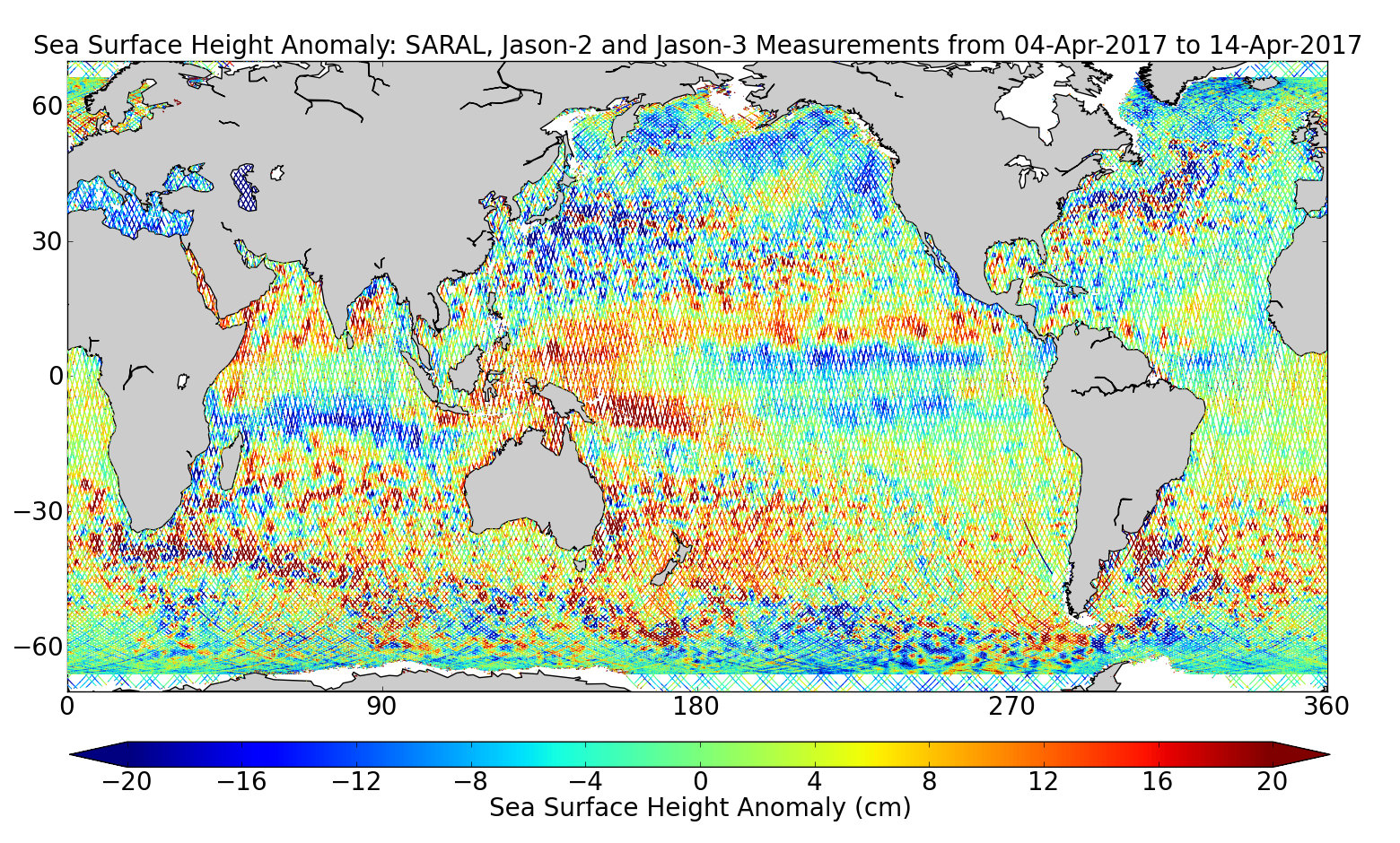 Sea Surface Height Anomaly: SARAL, Jason-2 and Jason-3 Measurements from 04-Apr-2017 to 14-Apr-2017