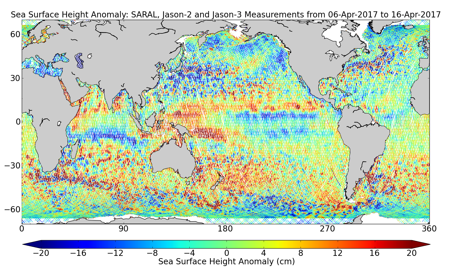 Sea Surface Height Anomaly: SARAL, Jason-2 and Jason-3 Measurements from 06-Apr-2017 to 16-Apr-2017