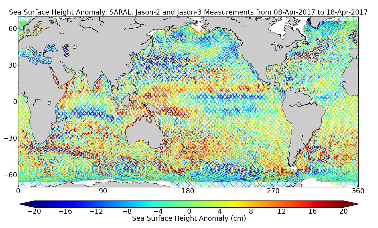 Sea Surface Height Anomaly: SARAL, Jason-2 and Jason-3 Measurements from 08-Apr-2017 to 18-Apr-2017