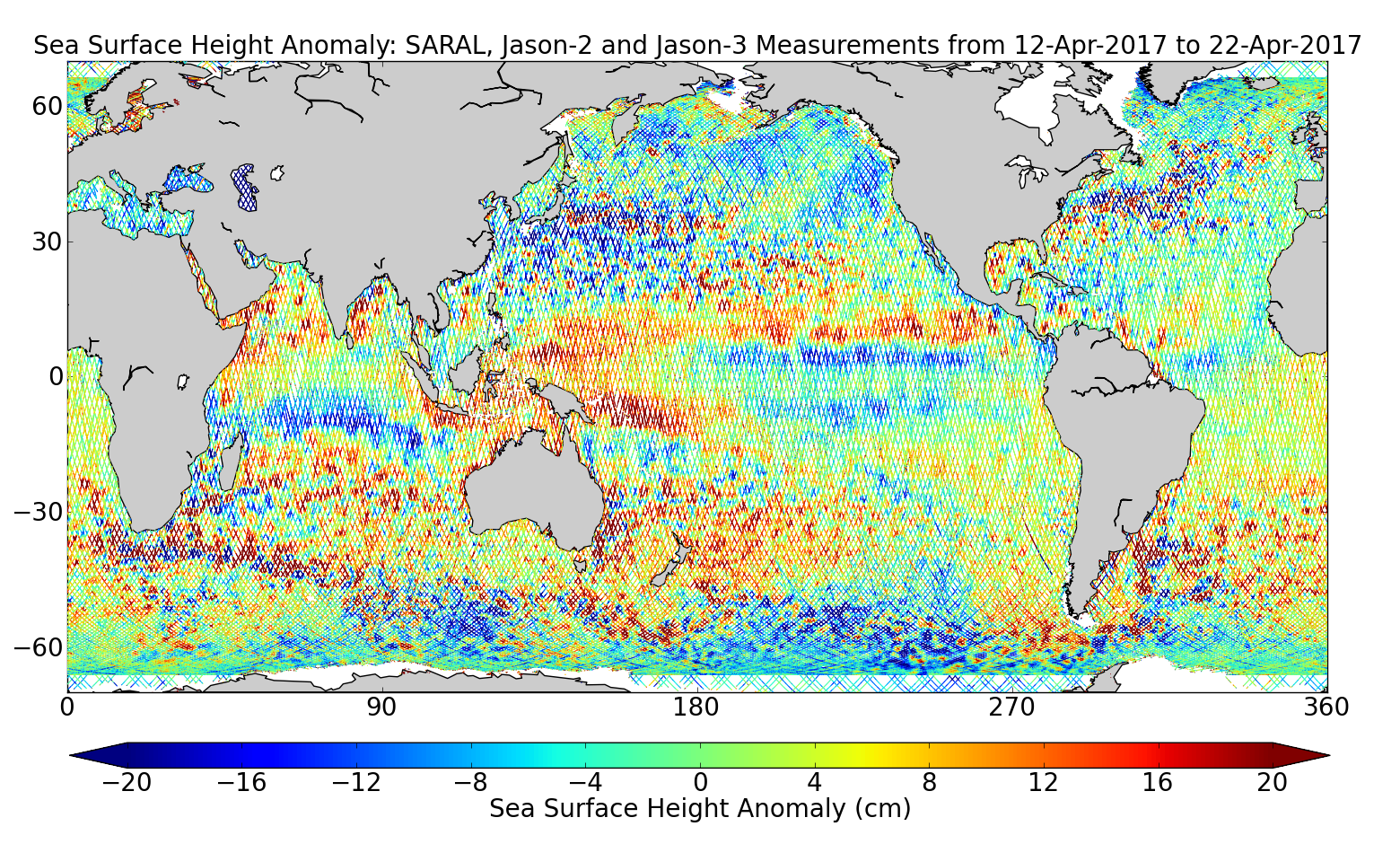 Sea Surface Height Anomaly: SARAL, Jason-2 and Jason-3 Measurements from 12-Apr-2017 to 22-Apr-2017