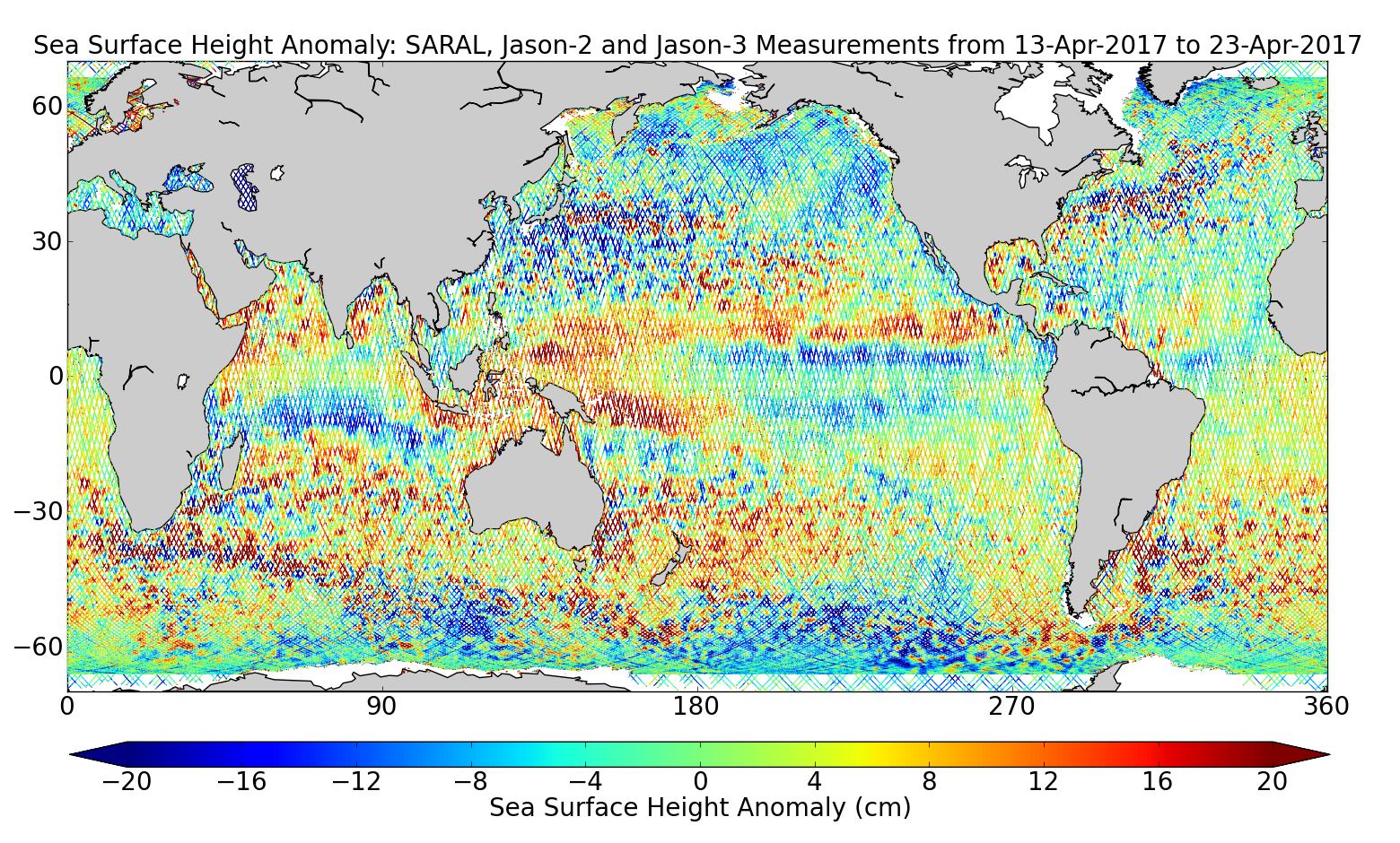 Sea Surface Height Anomaly: SARAL, Jason-2 and Jason-3 Measurements from 13-Apr-2017 to 23-Apr-2017