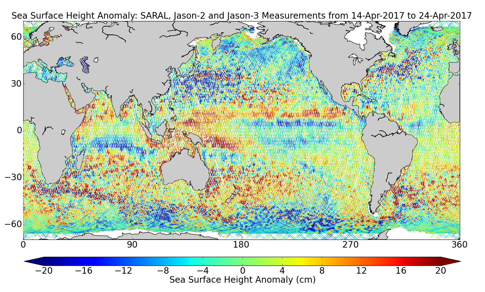 Sea Surface Height Anomaly: SARAL, Jason-2 and Jason-3 Measurements from 14-Apr-2017 to 24-Apr-2017