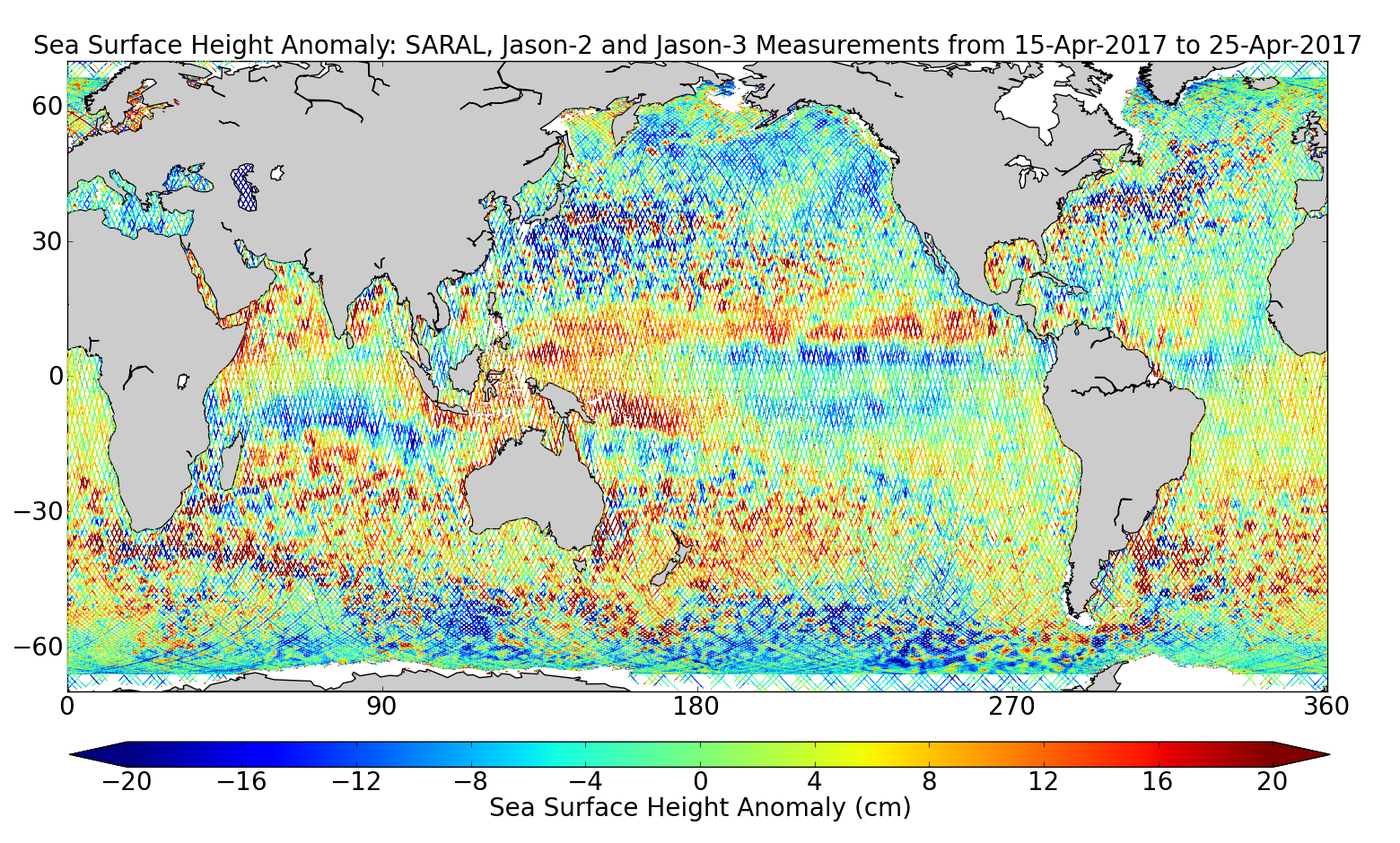 Sea Surface Height Anomaly: SARAL, Jason-2 and Jason-3 Measurements from 15-Apr-2017 to 25-Apr-2017