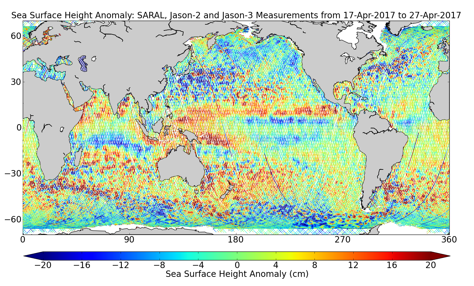 Sea Surface Height Anomaly: SARAL, Jason-2 and Jason-3 Measurements from 17-Apr-2017 to 27-Apr-2017