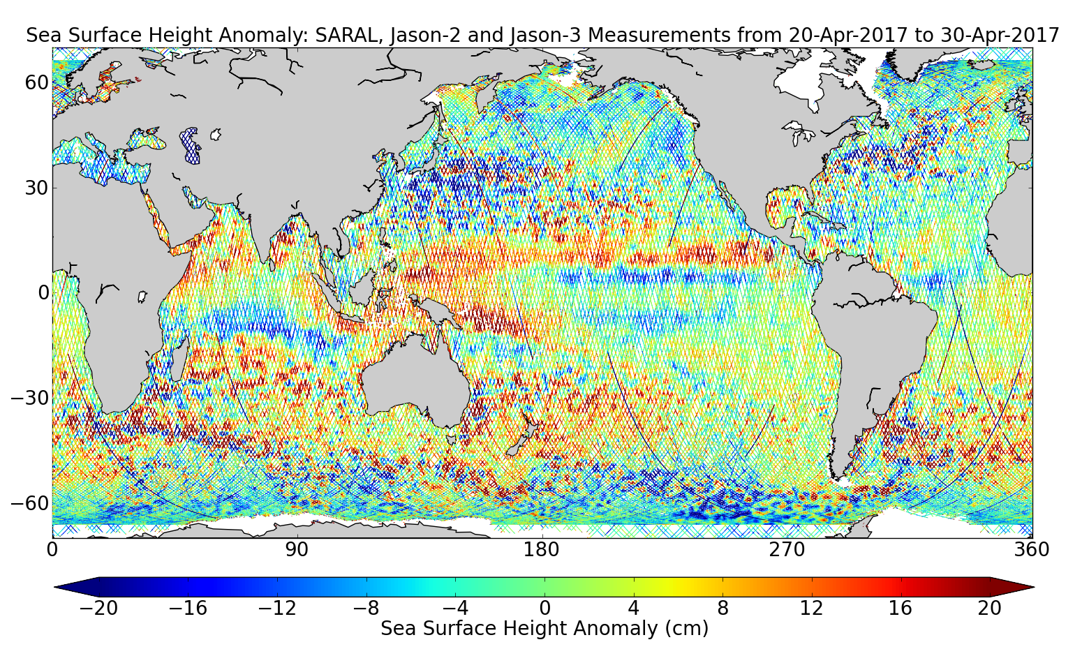 Sea Surface Height Anomaly: SARAL, Jason-2 and Jason-3 Measurements from 20-Apr-2017 to 30-Apr-2017