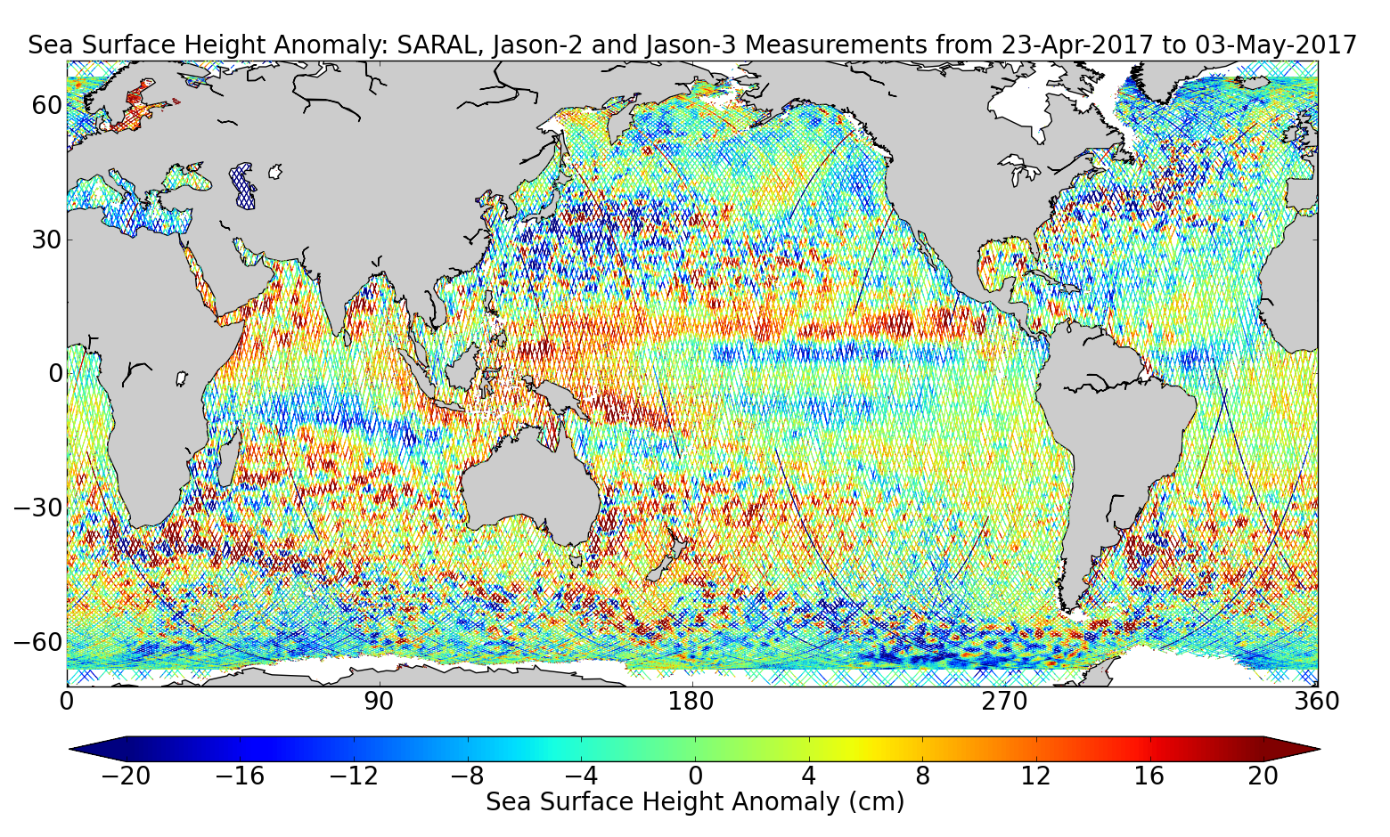 Sea Surface Height Anomaly: SARAL, Jason-2 and Jason-3 Measurements from 23-Apr-2017 to 03-May-2017