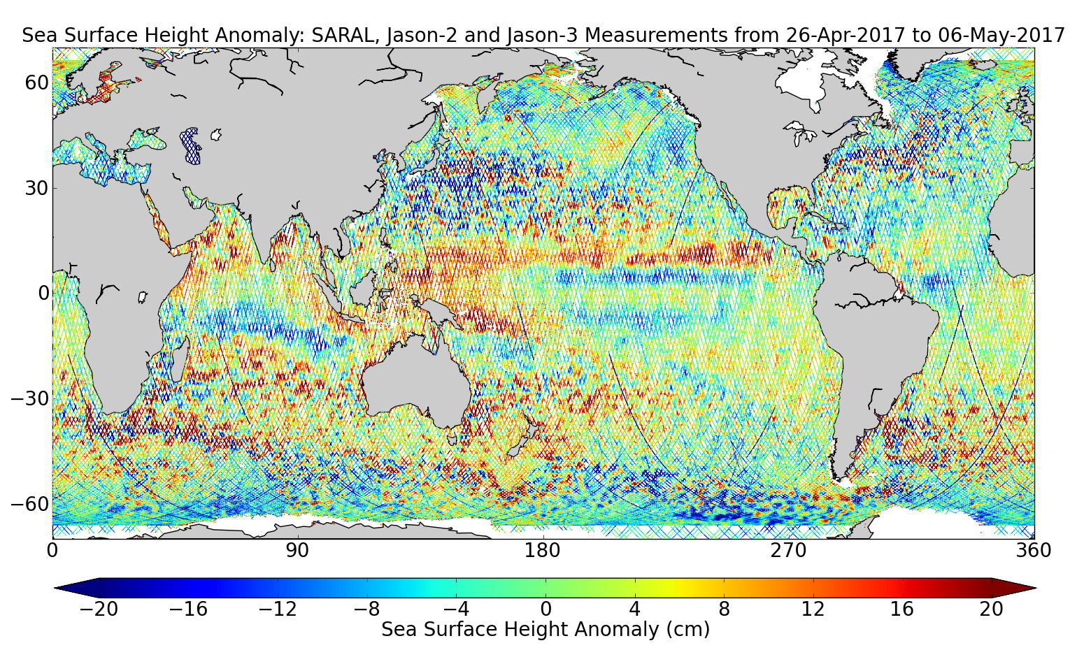 Sea Surface Height Anomaly: SARAL, Jason-2 and Jason-3 Measurements from 26-Apr-2017 to 06-May-2017