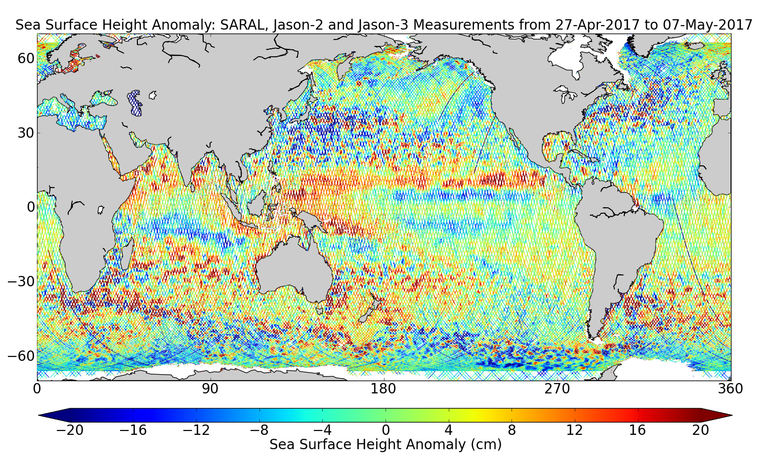 Sea Surface Height Anomaly: SARAL, Jason-2 and Jason-3 Measurements from 27-Apr-2017 to 07-May-2017