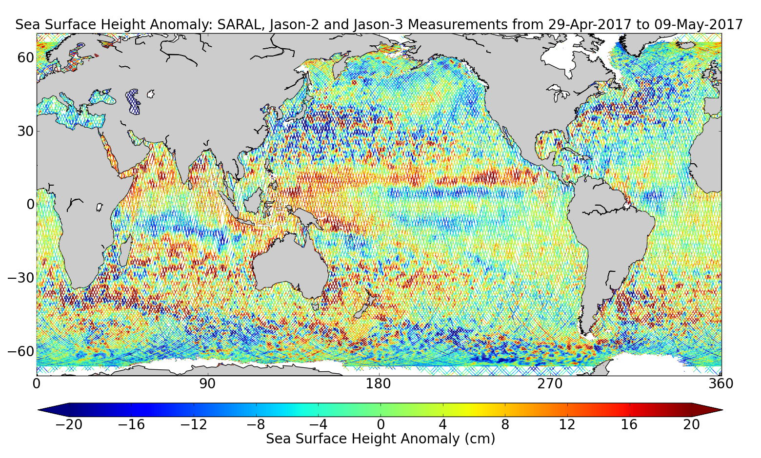 Sea Surface Height Anomaly: SARAL, Jason-2 and Jason-3 Measurements from 29-Apr-2017 to 09-May-2017