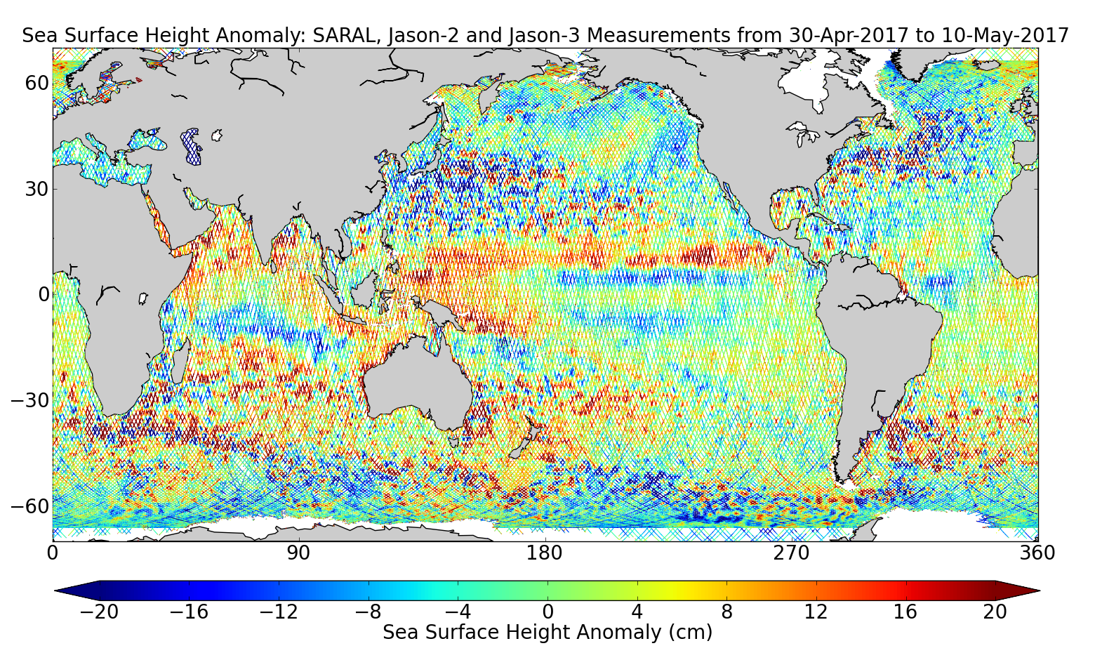 Sea Surface Height Anomaly: SARAL, Jason-2 and Jason-3 Measurements from 30-Apr-2017 to 10-May-2017