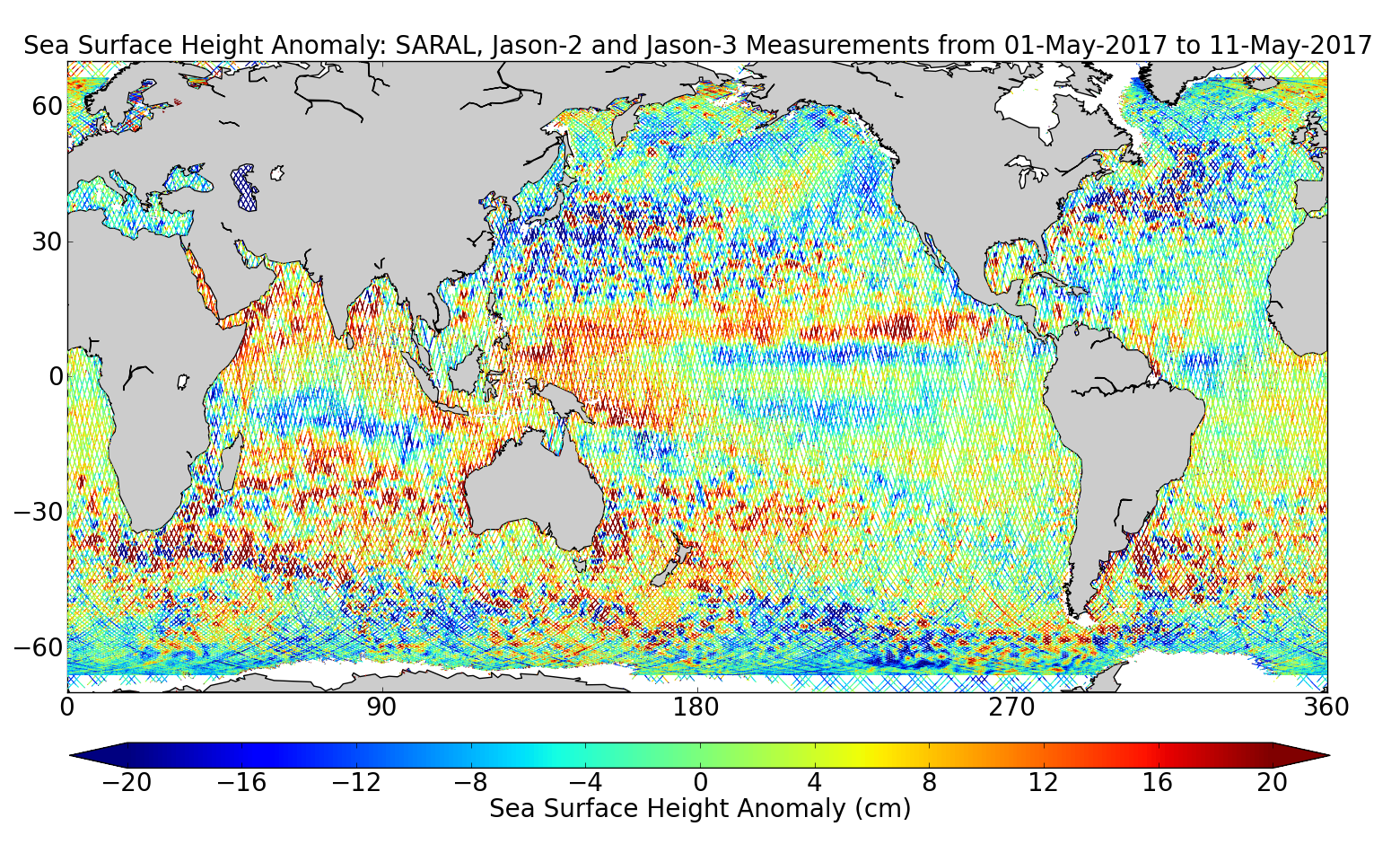 Sea Surface Height Anomaly: SARAL, Jason-2 and Jason-3 Measurements from 01-May-2017 to 11-May-2017