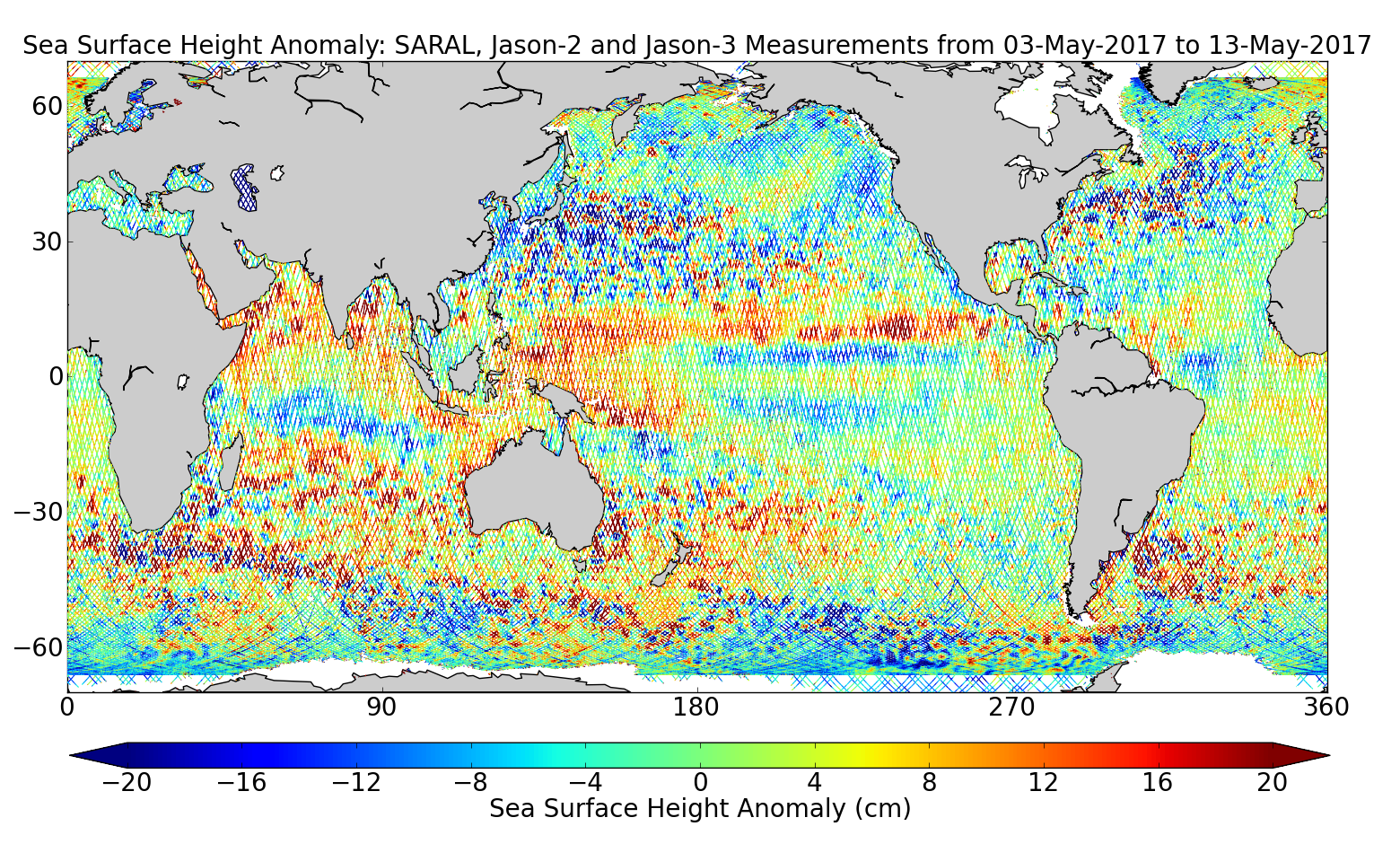 Sea Surface Height Anomaly: SARAL, Jason-2 and Jason-3 Measurements from 03-May-2017 to 13-May-2017