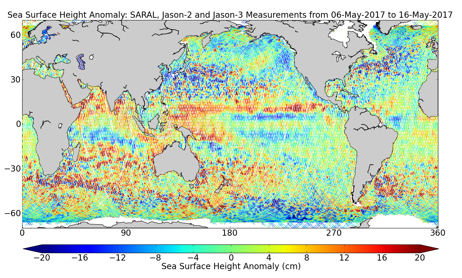 Sea Surface Height Anomaly: SARAL, Jason-2 and Jason-3 Measurements from 06-May-2017 to 16-May-2017