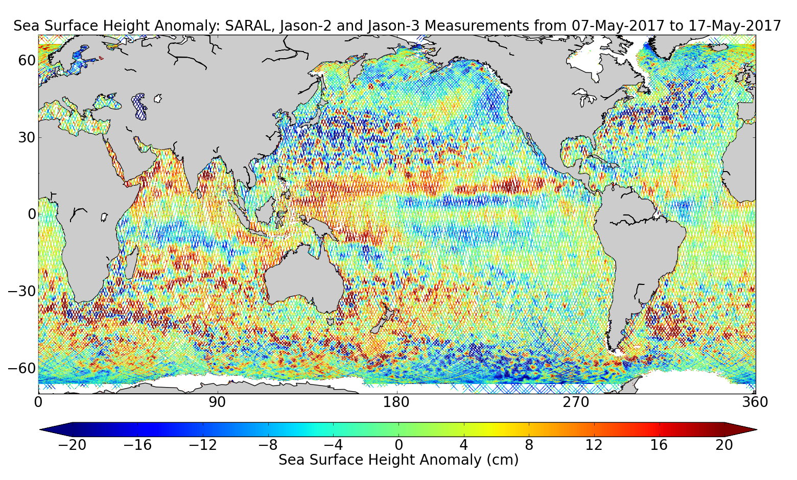 Sea Surface Height Anomaly: SARAL, Jason-2 and Jason-3 Measurements from 07-May-2017 to 17-May-2017