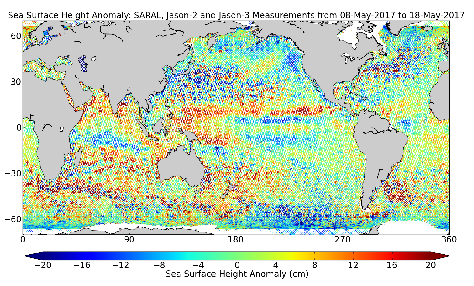 Sea Surface Height Anomaly: SARAL, Jason-2 and Jason-3 Measurements from 08-May-2017 to 18-May-2017