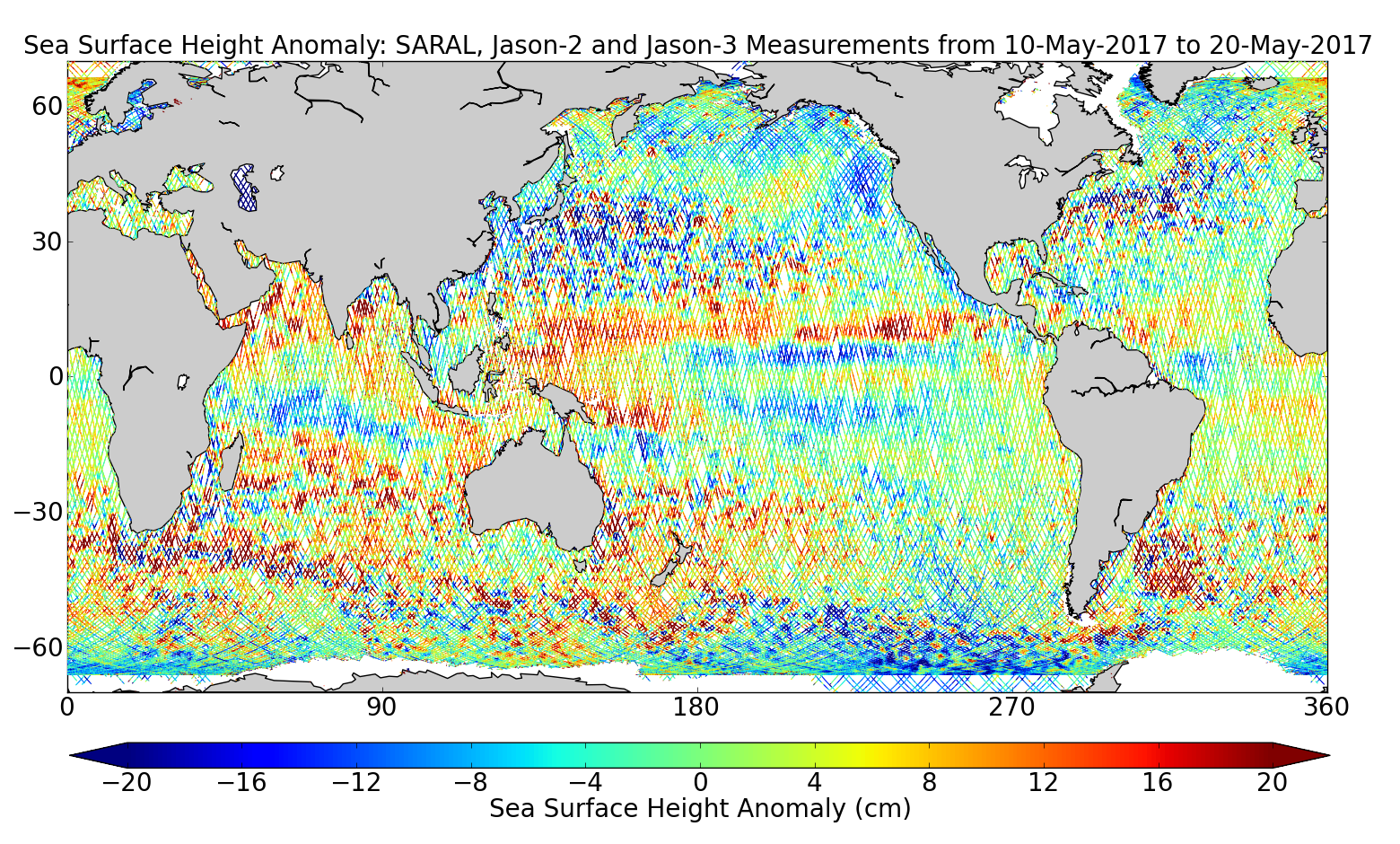 Sea Surface Height Anomaly: SARAL, Jason-2 and Jason-3 Measurements from 10-May-2017 to 20-May-2017
