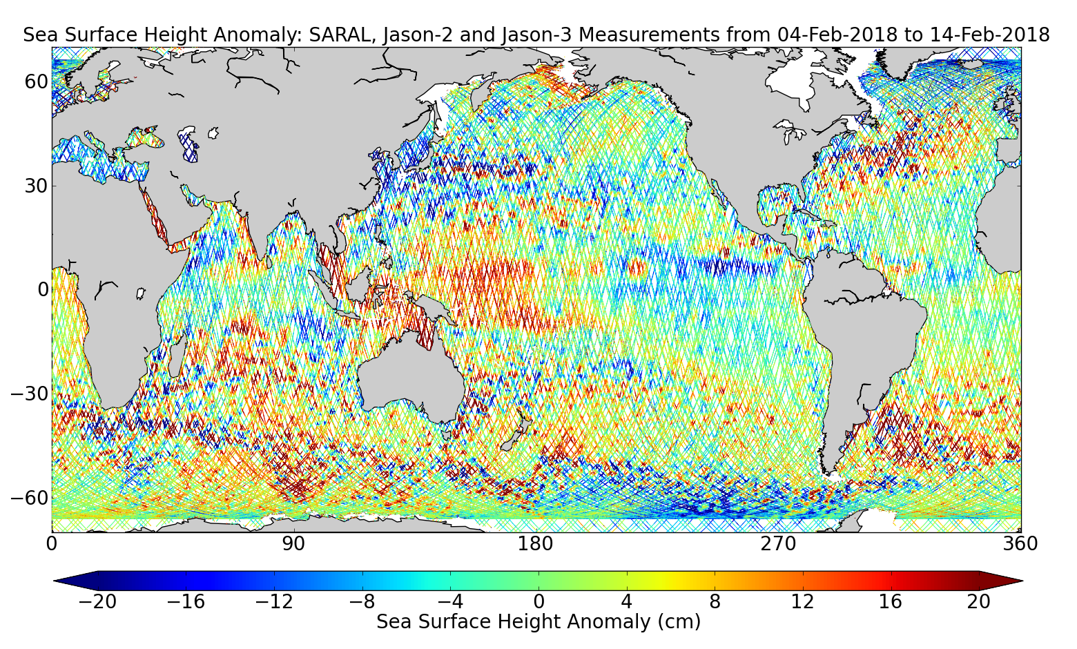 Sea Surface Height Anomaly: SARAL, Jason-2 and Jason-3 Measurements from 04-Feb-2018 to 14-Feb-2018