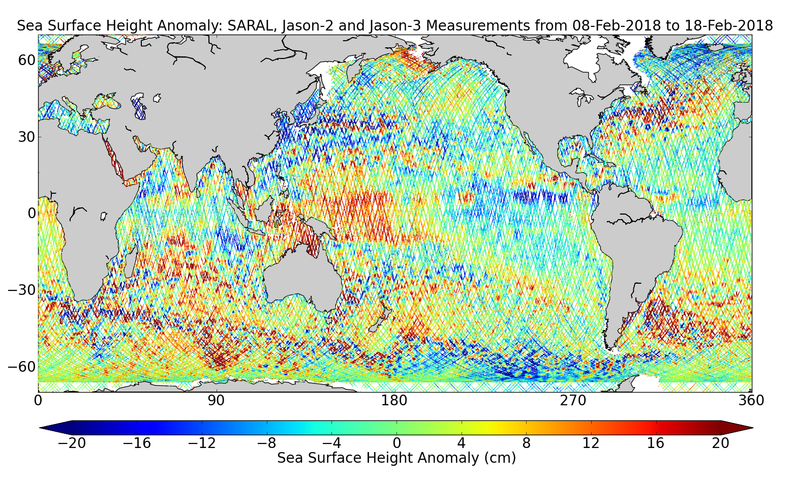 Sea Surface Height Anomaly: SARAL, Jason-2 and Jason-3 Measurements from 08-Feb-2018 to 18-Feb-2018