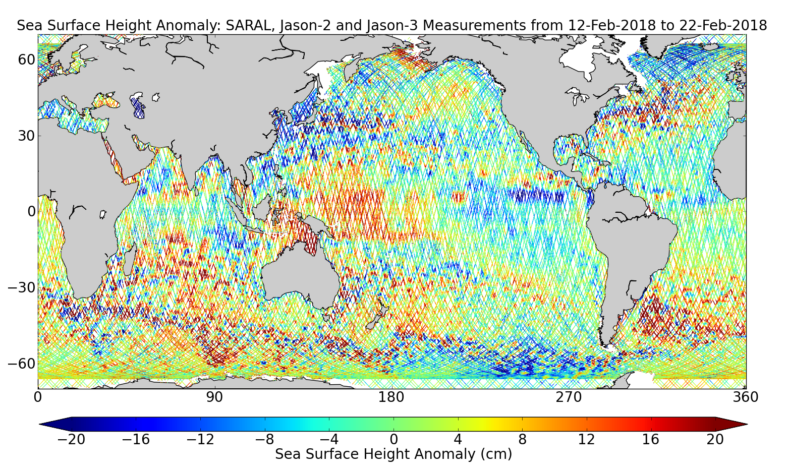 Sea Surface Height Anomaly: SARAL, Jason-2 and Jason-3 Measurements from 12-Feb-2018 to 22-Feb-2018