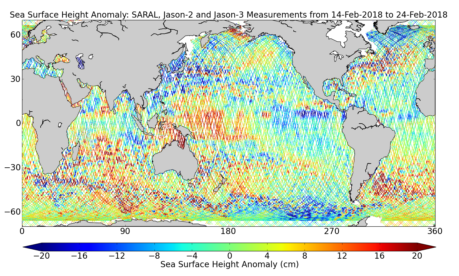 Sea Surface Height Anomaly: SARAL, Jason-2 and Jason-3 Measurements from 14-Feb-2018 to 24-Feb-2018