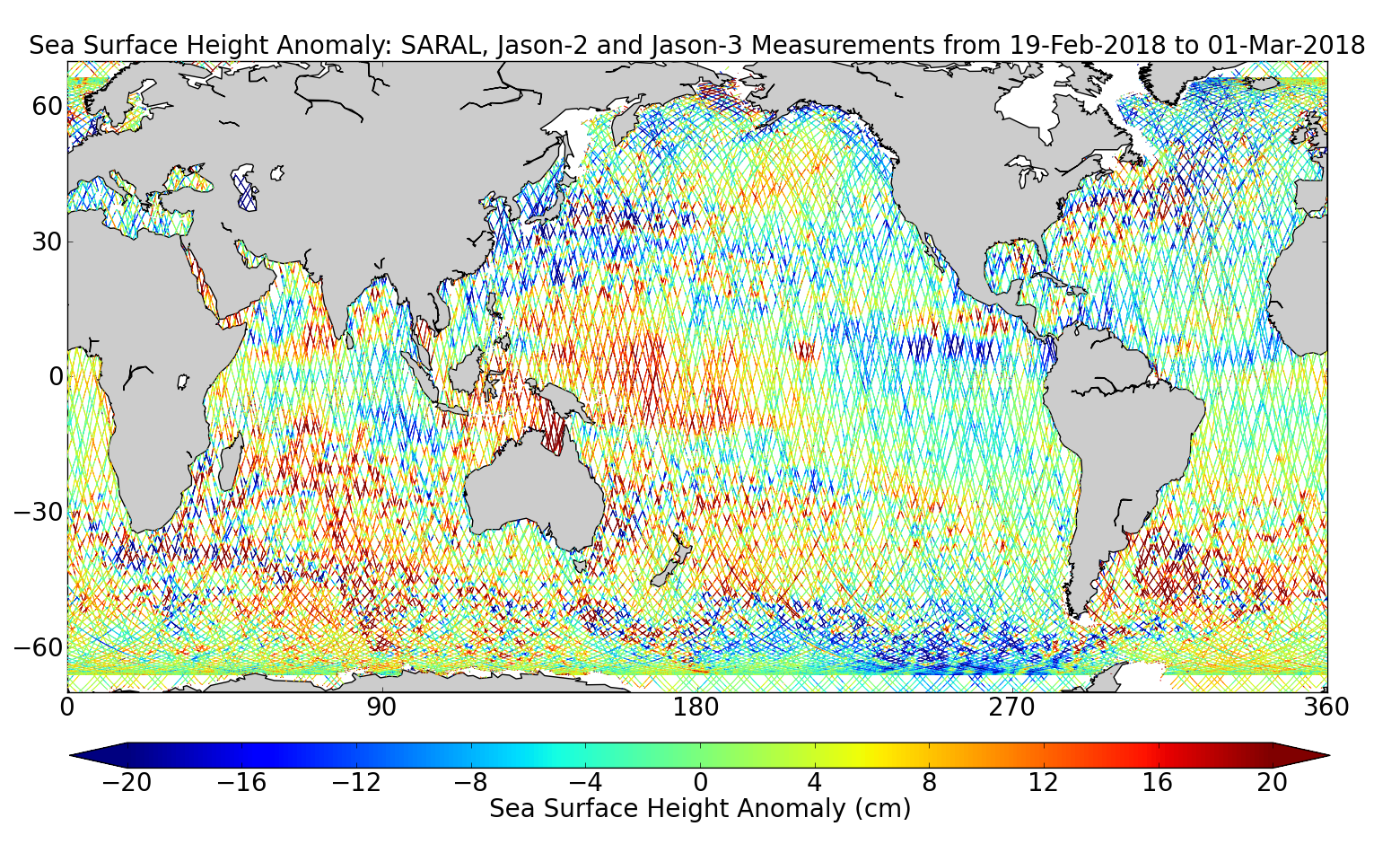 Sea Surface Height Anomaly: SARAL, Jason-2 and Jason-3 Measurements from 19-Feb-2018 to 01-Mar-2018