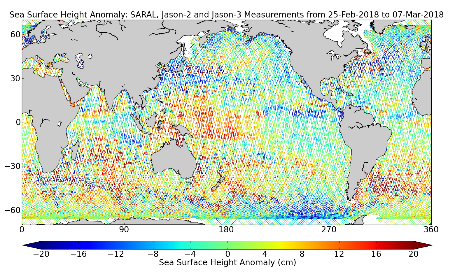 Sea Surface Height Anomaly: SARAL, Jason-2 and Jason-3 Measurements from 25-Feb-2018 to 07-Mar-2018