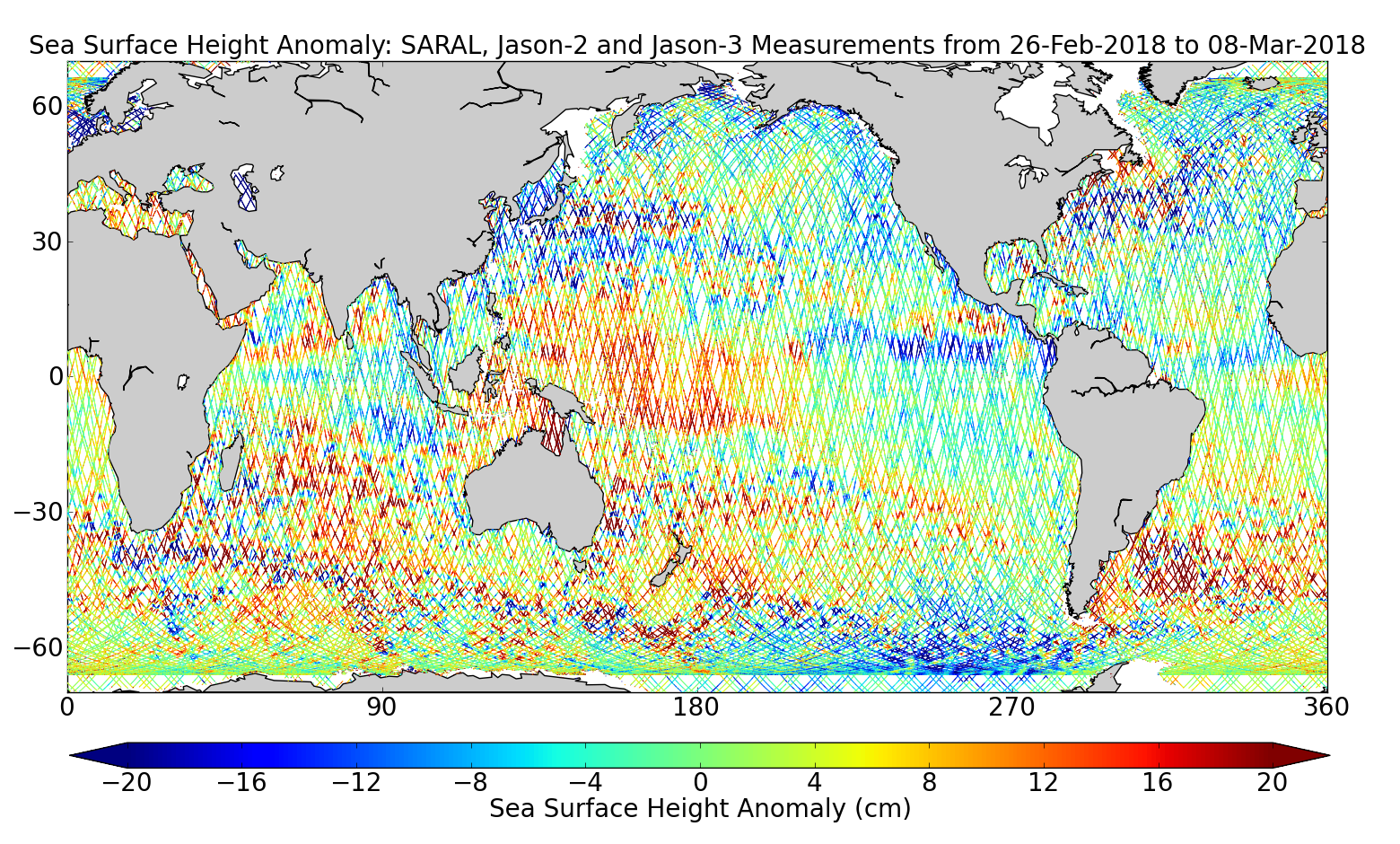 Sea Surface Height Anomaly: SARAL, Jason-2 and Jason-3 Measurements from 26-Feb-2018 to 08-Mar-2018