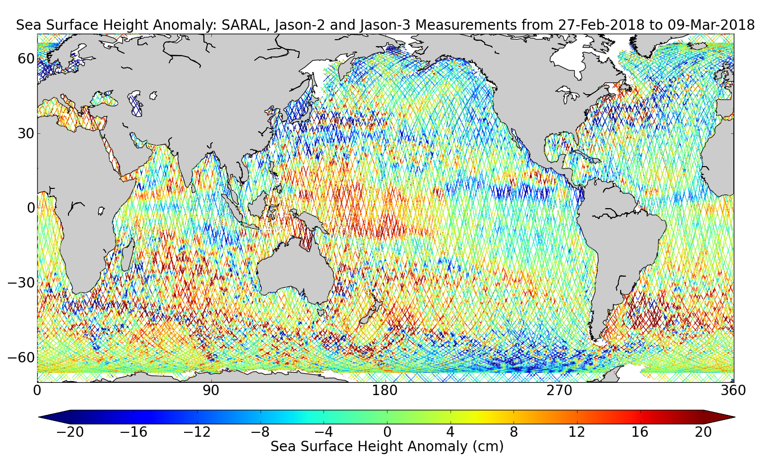 Sea Surface Height Anomaly: SARAL, Jason-2 and Jason-3 Measurements from 27-Feb-2018 to 09-Mar-2018